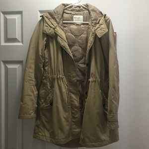 UNIQLO utility rain jacket with hood tan small